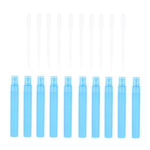 SM SunniMix Ensemble de 10x Bouteille de Parfum + 10x Ventouses Flacn Vide Jet bec de Parfum - Bleu