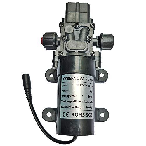 CYBERNOVA DC12V 100 PSI 4 L/m Bomba de Arranque automático con diafragma de Alta presión con Interruptor de presión para Caravana, Barco, Caravana, Caravana, jardín (con Interfaz DC Hembra)