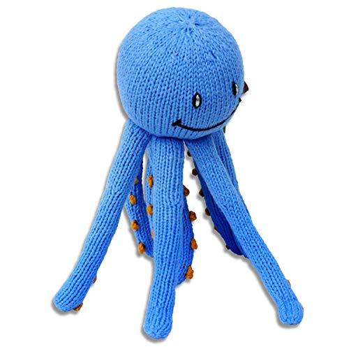 Mama Ocllo Chill n Feel - Beruhigendes Kuscheltier Krake, Blau/Orange, Oktopus, Tintenfisch, 23cm, Bio-Baumwolle, Fairer Handel, perfekt für kleine Baby-Hände