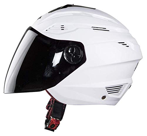 Steelbird Air SBA-6 Fuze Dashing Open Face Helmet with Smoke Visor (White,...