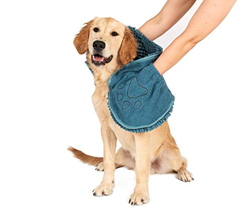 The Original Dirty Dog Shammy Ultra Absorbent Microfiber Quick Drying Towel with Hand Pockets for Wet Dog Handling and Grip is Perfect for Bath, Rain, Beach – Machine Washable