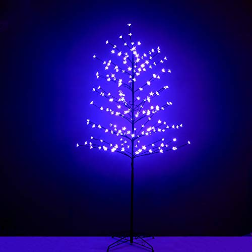 Snokip 208L LED 6Ft Light Tree Lighted Cherry Blossom Tree for Decoration Indoor Home Garden Christmas Festival Party, Purple, 1 Pack
