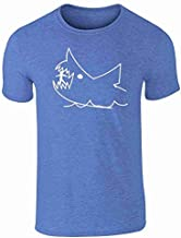 Bad Fish Shark Chalkboard Drawing Retro Vintage Heather Royal Blue L Graphic Tee T-Shirt for Men
