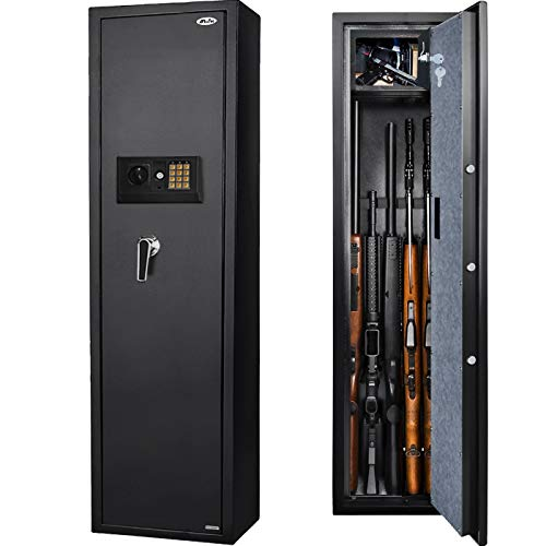 Moutec Large Rifle Safe, Long Gun Safe for Rifle Shotgun for Home, Quick Access 5-Gun Storage Cabinet (with/Without Scope) with Handgun Lockbox Slient Mode (Keyboard PIN Code)