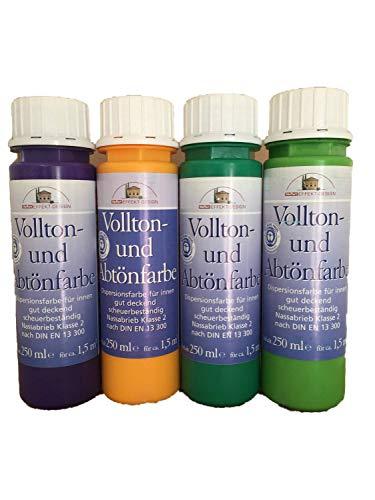 4x250ml Meffert Vollton- und Abtönfarbe 1 Liter Farbwahl, Farbe:Schokobraun