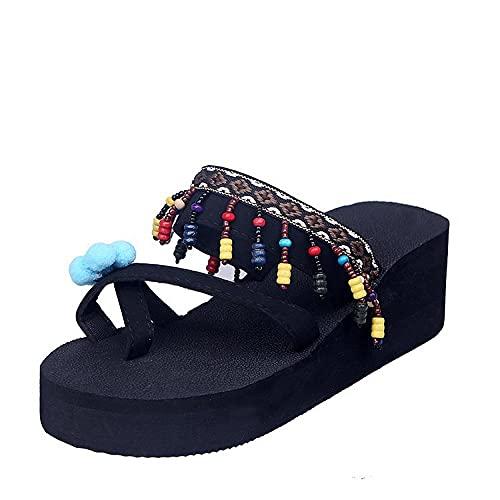 xinghui Sandalias Impermeables para Mujer Zapatillas de Playa Zapatillas de tacón Alto Caracteres de Arrastre de Grosor de ríos de Fondo-Azul_36