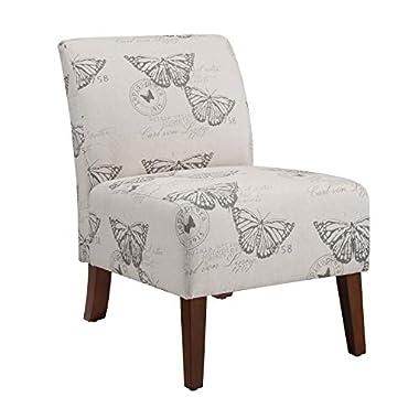 Linon Butterfly, Dark Espresso Linen Lily Chair, 21.5″ W x 29.5″ D x 31.5″ H