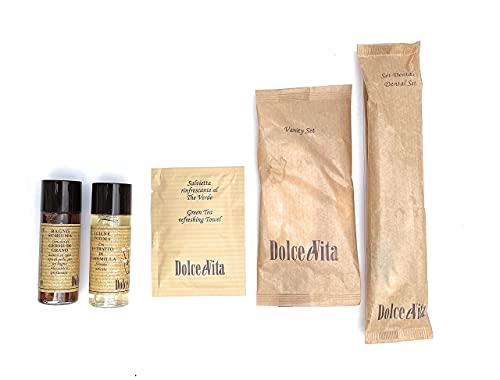 Hotel Linea Cortesia 20 - Kit elegante de bolsitas – 20 kits de línea Dolce Vita con extractos naturales de té verde, germen de trigo, manzanilla