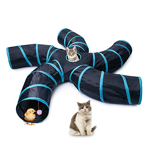 EGETOTA Cat Tunnel for Indoor Cats Large, with Play Ball S-Shape 5 Way Collapsible Interactive Peek Hole Pet Tube Toys, Puppy, Kitty, Kitten, Rabbit (Blue & Black)