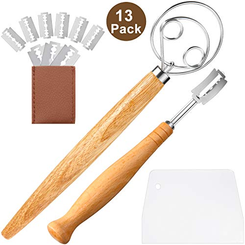 13 Pieces Double Eye Danish Dough Whisk Plastic Dough Scraper Stainless Steel Long Bread Lame with 10 Replaceable Blades and Protective Cover Dough Whisk Tools Set for Kitchen Baking