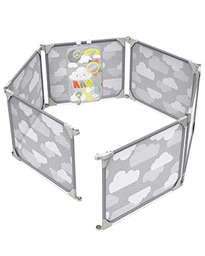 Skip Hop Baby Gate: Expandable or Wall Mounted Playpen with Clip-On Play Surface, Silver Lining Cloud