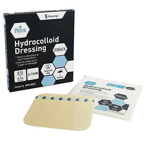 Medpride - Apósitos hidrocoloides para heridas   Paquete de 5, parches adhesivos estériles de 4 x 4 pulgadas   Empaquetados individualmente, altamente absorbentes, resistentes al agua y cómodos.