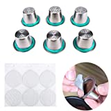 FineInno 6 Packs Stainless Steel Refillable Coffee Capsules Pods Reusable Coffee Filter Compatible with Nespresso Original,Include Seal Ring,Free 6 Foil Lids (6 Pods+Free 6 Foil Lid)