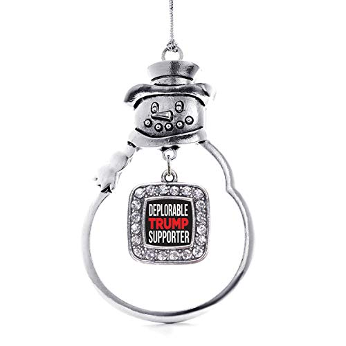 Inspired Silver - Deplorable Trump Supporter Charm Ornament - Silver Square Charm Snowman Ornament with Cubic Zirconia Jewelry