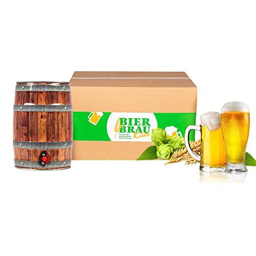 Braupartner - Set per la birra | Scatola per birra, versione a forma di botte scuro | per birra fai da te | con materie prime vere | Regalo per uomini e donne