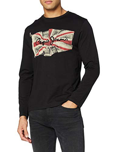 Pepe Jeans Flag-Logo L/S Camiseta de Manga Larga, Negro, Medium para Hombre