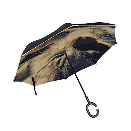Inverted Umbrella Rain Sun Car Reversible Cat Down Paw Light Large Double Layer Outdoor Upside Down Umbrella with Women with Uv Protection C-Shaped Handle