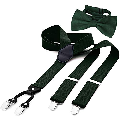 DonDon Tirantes para hombres ancho 3,5 cm en forma de Y, elásticos y ajustables en paquete de 2 con pajaritas adecuada en diferentes colores 12 x 6 cm - Verde