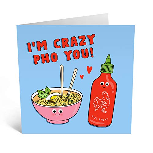 Central 23 - Cute Anniversary Cards for Women - 'Crazy Pho You' - Fun Anniversary Cards for Him - Greeting Cards for Wife - Anniversary Cards for Husband