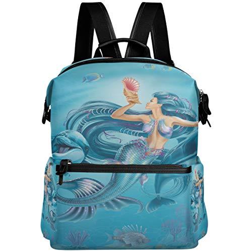 Oarencol Fantasy Mermaid Dolphins Shell Mochila de agua Animal Fish School Book Bag Viaje Senderismo Camping Portátil Daypack