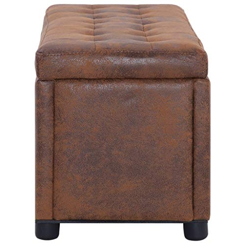 vidaXL Ottoman mit Stauraum Sitzhocker Sitzwürfel Sitzbank Aufbewahrungsbox Hocker Truhenbank Sitztruhe Truhe Sitzbox 87,5cm Braun Wildleder-Optik - 4