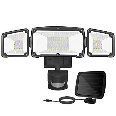 Solar LED Security Lights Outdoor, BEACON Solar Motion Sensor Light Outdoor with 3 Adjustable Head, 6000K 1500LM Waterproof Solar Flood Light for Backyard, Pathway & Patio