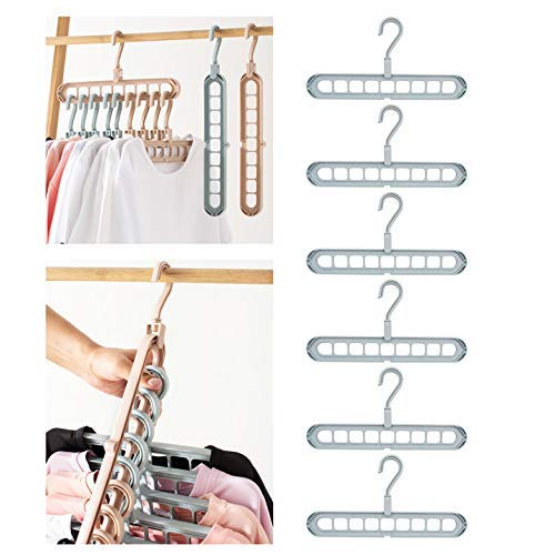 Airmoon Space Saving Hangers, Clothes Grouper, Multifunctional Closet Organizer, Pack of 6(Blue)…