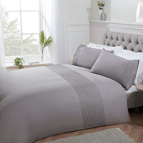 Sleepdown Pintuck Pleated Striped Panel Silver Easy Care Soft Cosy Duvet Cover Quilt Bedding Set with Pillowcases - Single (135cm x 200cm)