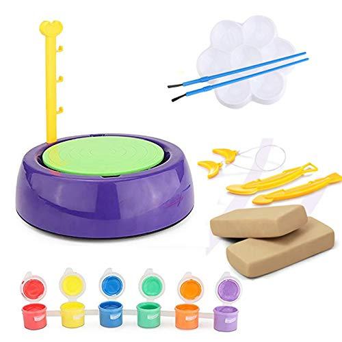 Töpferscheibe für Kinder, Kinder Töpferhandwerk Maschine, DIY Ton Werkzeug,Plattenspieler für Keramikarbeiten Keramik Clay Art Craft fur Junge und Mädchen,DIY Kunsthandwerk Spielzeug Set (A)