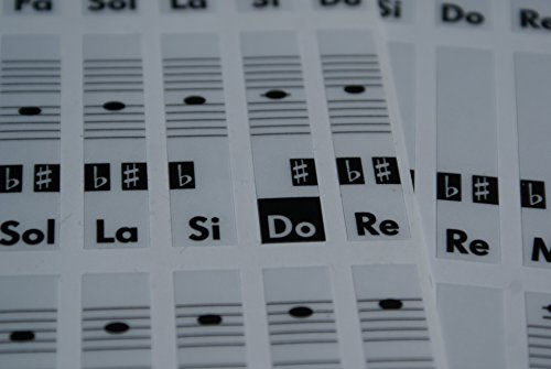 Piano teclado música Nota pegatinas etiquetas transparent Do-Re-Mi-Fa-Sol-La-Si