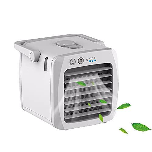 JINGON Condizionatore portatile Mini Air Cooler 4 in 1, umidificatore e purificatore d'aria, USB, mini refrigeratore d'aria con serbatoio d'acqua, 7 luci LED per casa e ufficio