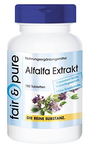 Alfalfa Tabletten Extrakt - Medicago sativa - 1500mg Tagesdosis - vegan - natürlicher Pflanzenextrakt ohne Magnesiumstearat - 180 Tabletten