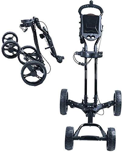 LILIS Golf trolleys,Fold Golfwagen Schnell-Falten Golf-Trolley, 4-Rad-Folding Golf Push Cart mit Handbremse,...