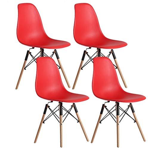 ZCXBHD Sillas Comedor, nórdico Creativo EL PLASTICO Asiento con Patas Madera Haya for Salón Home Office Silla Cocina Moderna Conjunto de 4 (Color : Red)