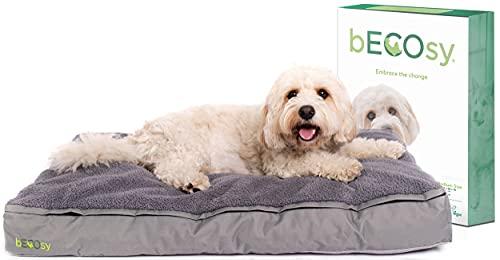 bECOsy® 100% Natural Latex   Luxury Orthopaedic Cat Dog Bed   Grey Durable Soft & Cosy   Waterproof & Machine Washable   Vegan (Medium - 36 inch 91x58x10cm)
