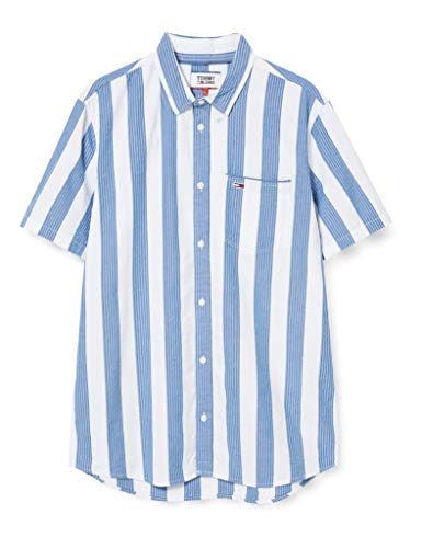 Tommy Jeans Herren TJM Seersucker Stripe Shirt Hemd, Blau (Audacious Blue/Multi), S