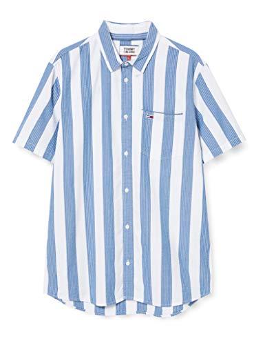 Tommy Jeans Herren TJM Seersucker Stripe Shirt Hemd, Blau (Audacious Blue/Multi), L