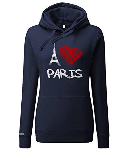 Jayess I Love Paris Eifelturm - Damen Hoodie in Navy by Gr. XXL