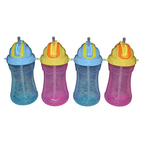 Sharebear Sippy Straw Cups - Built in Straw Cup - BPA Free - Leak Proof - Dishwasher Safe - Toddlers and Kids Love These Cups. Best Cups - 4 Pack 12 oz.