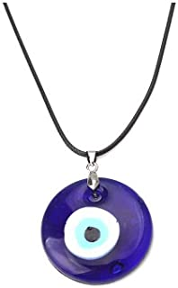 Evil Eye Pendant Necklace Glass Leather Rope Chain...