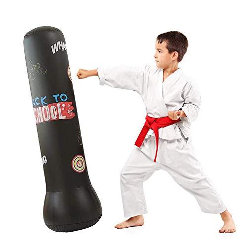 JanTeelGO Boxsack Kinder 120cm, Standboxsack für Sofortiges Zurückprallen zum Üben von Karate, Taekwondo und zur Entlastung von Pent Up Energy (Schwarz, 120 cm)