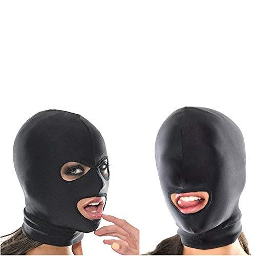 Máscara para la cabeza B_D_S_M Dos máscaras combinadas Máscara de tela Spandex para la cabeza Máscara para la cabeza hecha con la boca abierta (2 piezas (3 agujeros + boca abierta)