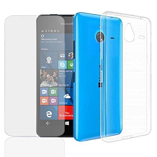 Eximmobile Silikon Hülle + Panzerfolie für Microsoft Lumia 435 Handyhülle mit 9H Echt Glasfolie Schutzhülle mit Schutzfolie Handytasche Silikonhülle Tasche Hülle Bildschirmschutzfolie Bildschirmschutz