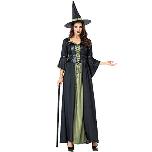 Jeff-chy Halloween-kostuum dames lange heksen pak heks jurk jurk nachtclub staaf party cosplay kostuum met hoed riem