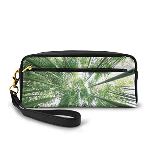 Pencil Case Pen Bag Pouch Stationary,Tropical Rain Forest Tall Bamboo Trees in Grove Exotic Asian Style Nature Zen Theme Image,Small Makeup Bag Coin Purse