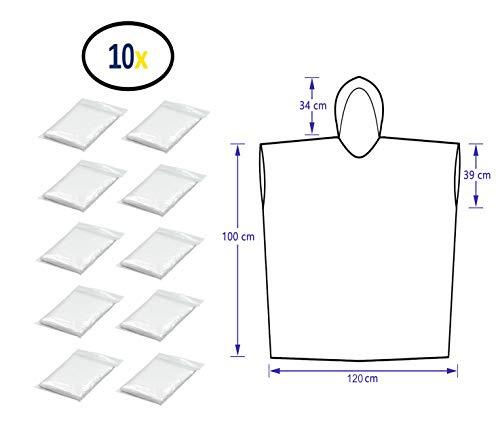 Thorani Regenponcho für Damen, Herren & Kinder 140-190 cm – kompakt und leicht - 10er Pack
