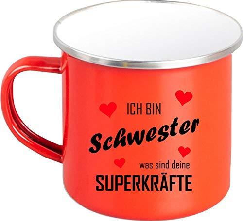 Shirtstown Taza esmaltada, diseño con texto en alemán 'Ich Bin Schwester was sind Deine SUPERKRÄFTE', color rojo