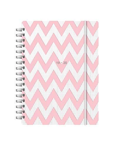 Letts Agenda universitaria con visualizzazione settimanale, 2019/20, formato A6 e copertina con motivo a zigzag, colore rosa (lingua italiana non garantita)