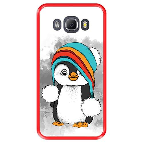 Hapdey Custodia per [ Samsung Galaxy J5 2016 ] Disegni [ Baby Pinguino, Inverno ] Cover Guscio in Silicone Flessibile Rosso TPU