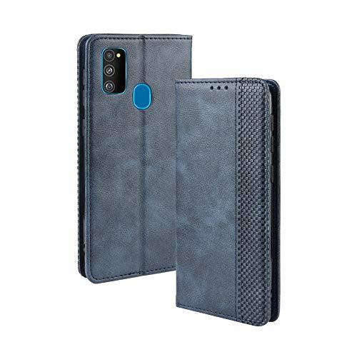 HAOYE Hülle für Samsung Galaxy M21, Retro Premium PU Leder Flip Schutzhülle, Leder Klapphülle Slim Lederhülle mit Standfunktion und Kartenfach TPU Innenraum Hülle Handyhülle, Blau
